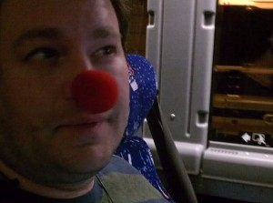 Ed wearing a clown nose
