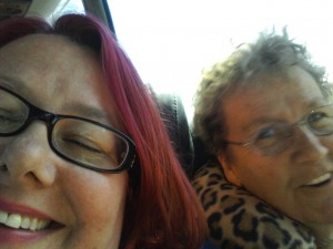 Me and Mom - she in mid-scold. On the IKEA bus.