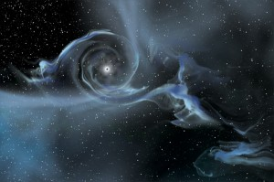 An artist&#039;s drawing shows a large stellar-mass black hole pulling gas away from a companion star. Image Credit: NASA E/PO, Sonoma State University, Aurore Simonnet