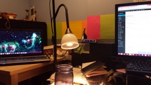 View of my desk as I write this post.